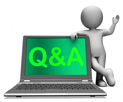 Free Stock Photo of Qa Laptop Shows Question And Answer Online