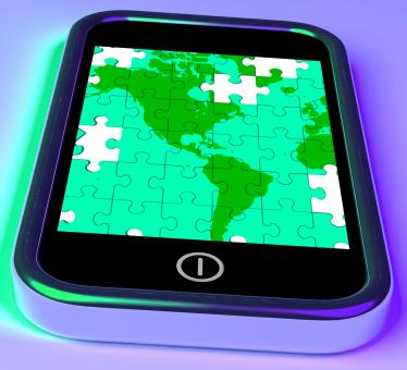 Free Stock Photo of Map Of America On Smartphone Shows Mobile Global Communications