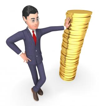 Free Stock Photo of Coins Finance Means Business Person And Currency 3d Rendering
