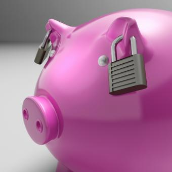 Free Stock Photo of Piggybank With Locked Ears Shows Savings Safety