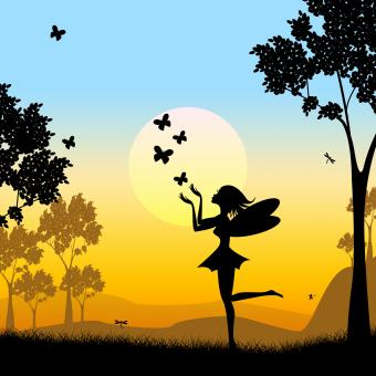 Free Stock Photo of Silhouette Fairy Shows Faries Fairyland And Silhouettes