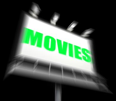 Free Stock Photo of Movies Sign Displays Hollywood Entertainment and Picture Shows