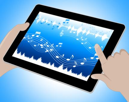 Free Stock Photo of Music Indicates Soundtracks On Tablet 3d Illustration