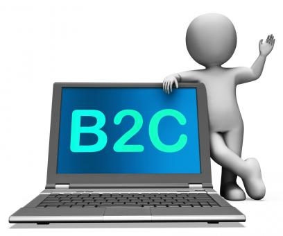 Free Stock Photo of B2c Laptop And Character Shows Business To Customer Or Consumer