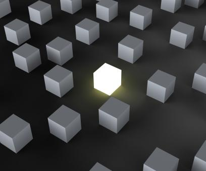 Free Stock Photo of Unique Illuminated Block Showing Standing Out