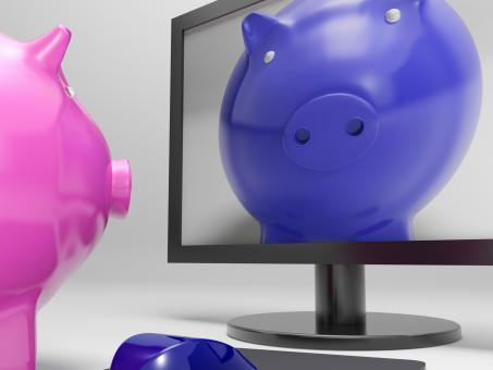 Free Stock Photo of Piggy On Screen Shows Online Bank Savings