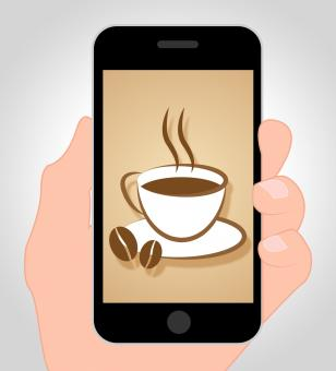 Free Stock Photo of Coffee Online Shows Mobile Phone And Beverage