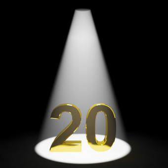 Free Stock Photo of Gold 20th Or Twenty 3d Number Showing Anniversary Or Birthday