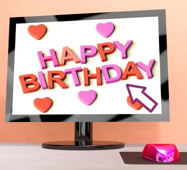 Free Stock Photo of Happy Birthday On Computer Screen Showing Online Greeting