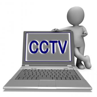 Free Stock Photo of CCTV Laptop Shows Surveillance Protection Or Monitoring Online