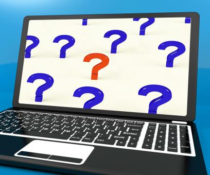 Free Stock Photo of Question Marks On Computer Screen Showing Online Help