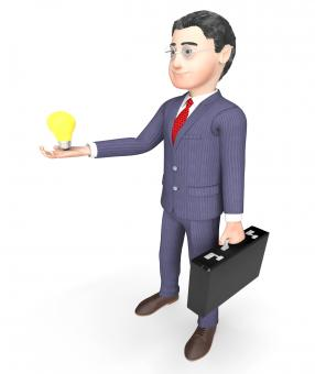 Free Stock Photo of Character Lightbulb Indicates Business Person And Idea 3d Rendering