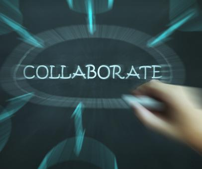 Free Stock Photo of Collaborate Diagram Shows Working Together And Synergy