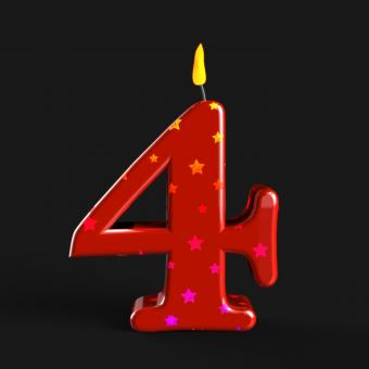 Free Stock Photo of Number Four Candle Means Wax Cake Candle Or Birthday Candle