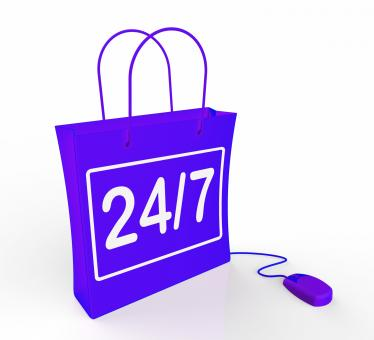 Free Stock Photo of Twenty-four Seven Bag Represents Online Shopping Availability