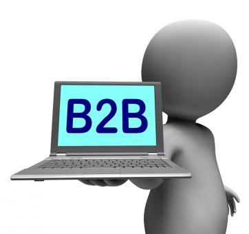 Free Stock Photo of B2b Laptop Character Shows Business Trading And Commerce Online