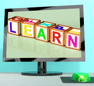 Free Stock Photo of Learn Blocks On Computer Screen Showing Online Kids Education