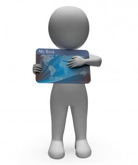 Free Stock Photo of Debit Card Represents Cashless Buyer And Debt 3d Rendering