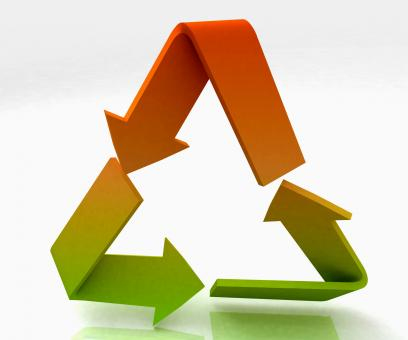 Free Stock Photo of Coloured Recycle Symbol Shows Recycling