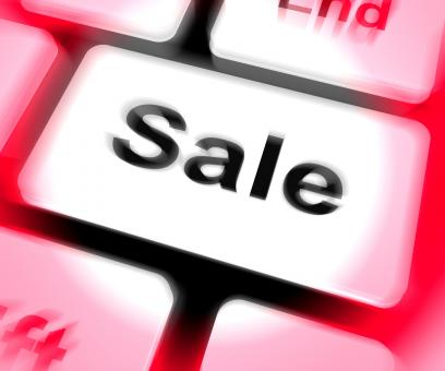 Free Stock Photo of Sales Keyboard Shows Promotions And Deals
