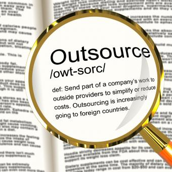 Free Stock Photo of Outsource Definition Magnifier Showing Subcontracting Suppliers And Fr