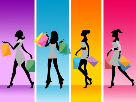 Free Stock Photo of Women Shopping Shows Retail Sales And Adult