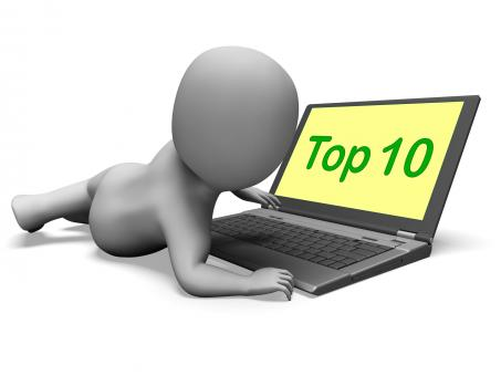 Free Stock Photo of Top Ten Character Laptop Shows Best Top Ranking