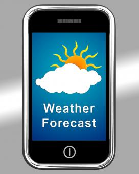 Free Stock Photo of Mobile Phone Shows Cloudy Weather Forecast