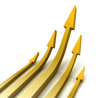 Free Stock Photo of 5 Gold Arrows Shows Progress Target