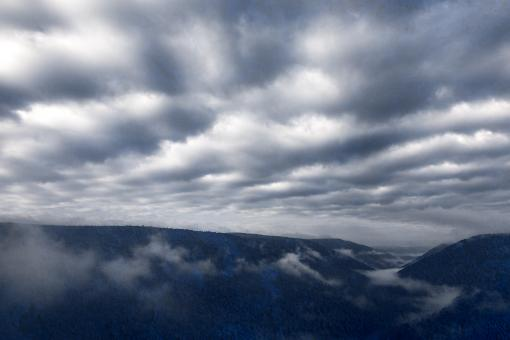 Free Stock Photo of Cloudy Mountain Fog - Blue Grunge