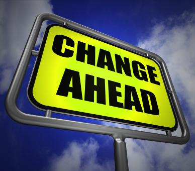 Free Stock Photo of Change Ahead Signpost Refers to a Different and Changing Future
