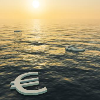 Free Stock Photo of Euros Floating To A Sunset Showing Money Wealth Or Earnings