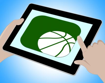 Free Stock Photo of Basketball Online Represents Tablet Playing 3d Illustration