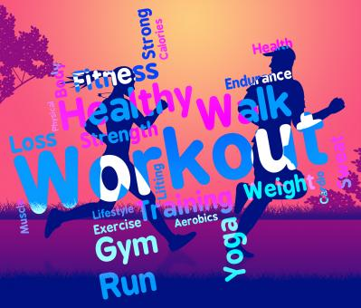 Free Stock Photo of Workout Words Shows Get Fit And Exercising