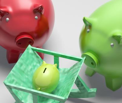 Free Stock Photo of Piggy Bank Family Shows Planning And Protection