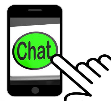 Free Stock Photo of Chat Button Displays Talking Typing Or Texting