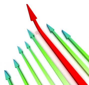 Free Stock Photo of Red Left Arrow Ahead Shows Growth