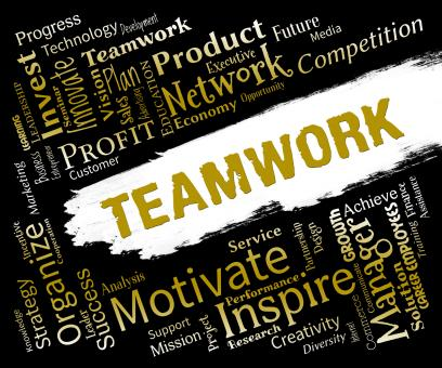 Free Stock Photo of Teamwork Words Indicates Teams Networking And Cooperation
