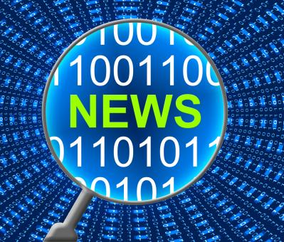 Free Stock Photo of News Online Represents Web Site And Computer