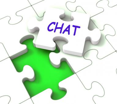 Free Stock Photo of Chat Jigsaw Shows Chatting Talking Typing Or Texting