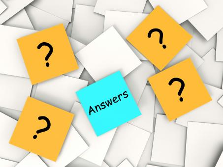 Free Stock Photo of Questions Answers Post-It Notes Show Asking And Finding Out