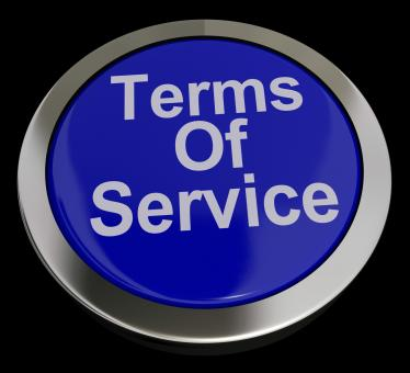 Free Stock Photo of Terms Of Service Computer Button In Blue Showing Website Agreement And