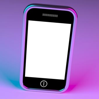 Free Stock Photo of Blank Smartphone Screen With White Copyspace And Mauve Background