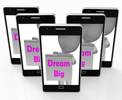 Free Stock Photo of Dream Big Sign Shows Aiming High And Ambitious