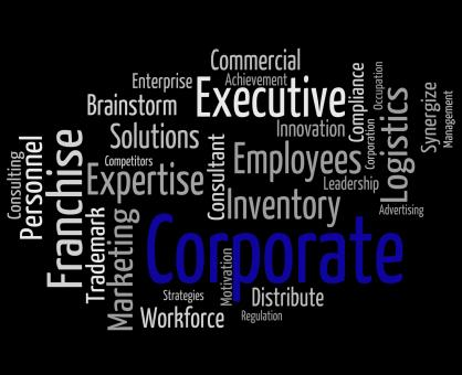 Free Stock Photo of Corporate Word Means Corporation Wordcloud And Executive