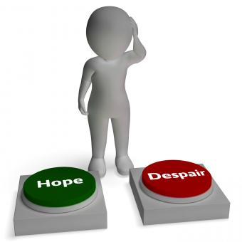 Free Stock Photo of Hope Despair Buttons Shows Hopeful Or Desperation