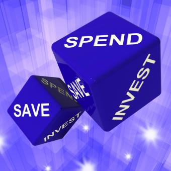 Free Stock Photo of Spend, Save, Invest Dice Background Shows Finances And Debts
