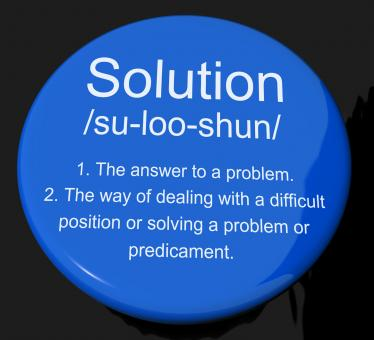 Free Stock Photo of Solution Definition Button Showing Achievement Vision And Success