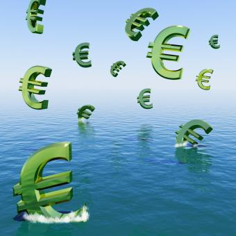 Free Stock Photo of Euros Falling In The Sea Showing Depression Recession And Economic Dow