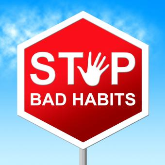 Free Stock Photo of Stop Bad Habits Shows Warning Sign And Danger